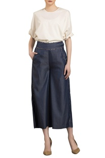 Navy blue cropped denim palazzo pants