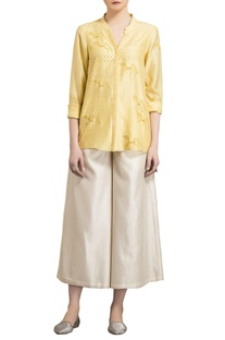 Yellow chanderi horse motif warli shirt