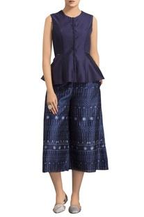 Navy blue chanderi warli art printed cropped pants