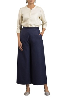 Blue high waist flared trousers