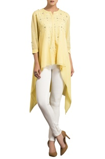 Yellow mukaish work embellished high low kurta