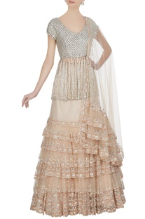Beige tulle net tiered lehenga with swarovski embroidered blouse & dupatta