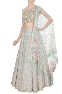 Aqua blue & pink kashmiri embroidered lehenga set