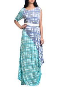 Sea green & lavender georgette one-shoulder dress with belt