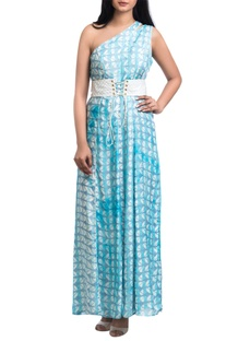 Blue geometric block printed maxi dress with corset belt