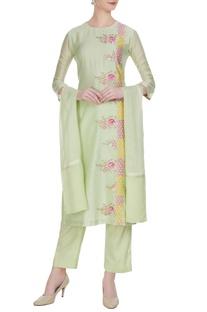 Light green resham embroidered chanderi kurta set