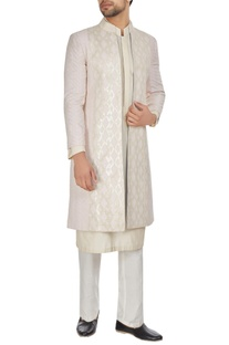 Ivory & pink chanderi front open textured achkan jacket with kurta & churidar