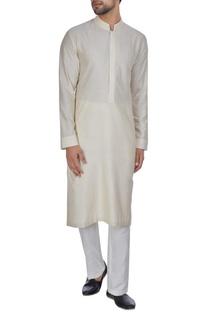 Beige spun silk thread embroidered kurta set