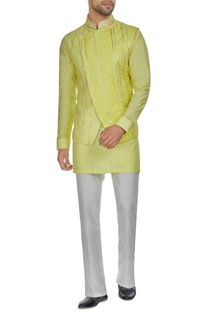 Yellow spun silk overlap lucknowi bandi jacket