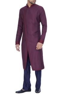 Wine spun silk textured overlap kurta with blue pants