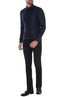 Midnight blue linen solid shirt