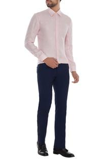 Powder pink linen solid shirt