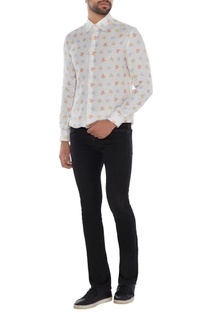 Ivory linen printed shirt