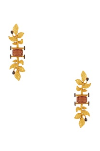 Leaf motif long earrings