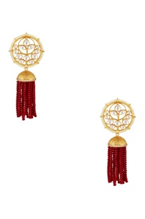Circular floral earrings with dangling bead tassels