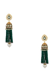 Jhumka earrings with green beaded tassels