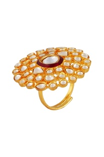 Multiple studded floral statement ring