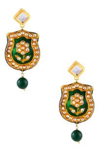 Kundan & pink beaded necklace & earrings