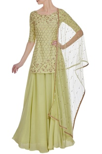 Crepe silk & net hand embroidered dabka & pearl kurta set