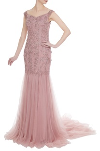 Hand embroidered sequin mermaid gown with cancan underlayer