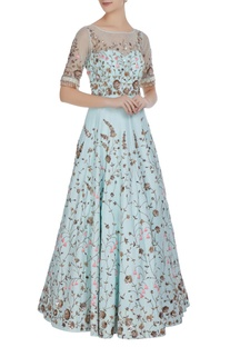 Net sequin & nalki bead embroidered floral gown