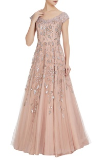Sequin embroidered flared bridal gown