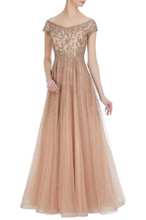 Net pailette sequin embroidered off-shoulder gown