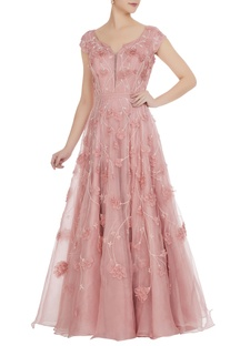 Pink organza bridal gown
