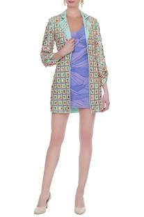 Mint green & lilac crepe & bandhani embroidered short dress & blazer
