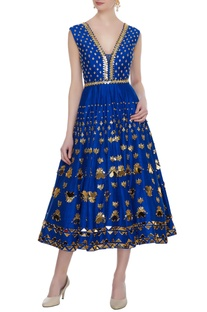Electric blue raw silk embellished mid calf length dress