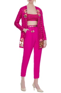 Hot pink crepe & matka silk 3D rose embroidered blazer with bralette & pants
