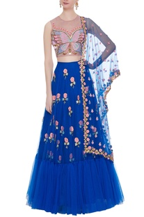 Blue tulle embroidered blouse with lehenga & dupatta