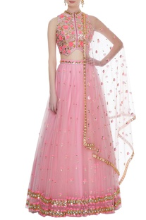 Pink tulle 3D rose embroidered blouse with lehenga & dupatta