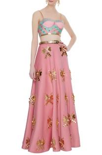 Pink neoprene butterfly embellished blouse with lehenga & belt
