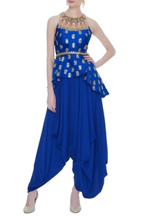 Blue raw silk & crepe embroidered peplum top with dhoti pants