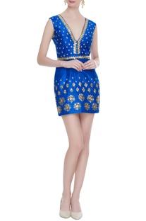 Electric blue raw silk sequin embellished short dress