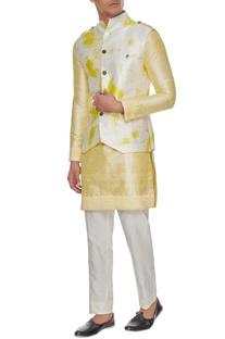 White & yellow tie dye bundi with kurta