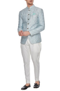 Powder blue quilted bandhgala