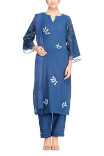 Cobalt blue khadi lace kurta set