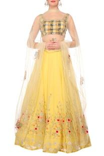 Yellow georgette lehenga with chequered blouse & yellow net dupatta