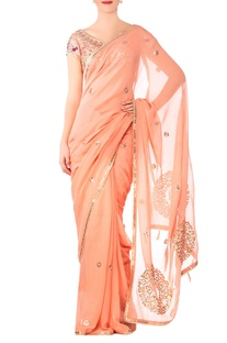 Peach georgette embroidered saree with raw silk blouse
