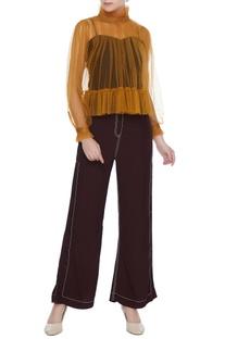 Mustard yellow tulle net high collar jumper