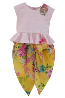 Baby pink cotton peplum top with yellow printed dhoti