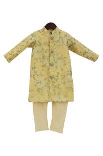 Yellow achkan jacket with churidar