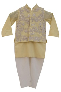 Lemon yellow cotton silk embroidered jacket with lemon yellow kurta & churidar
