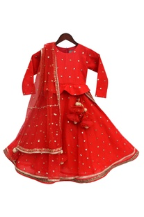Red embroidered peplum blouse with embroidered lehenga