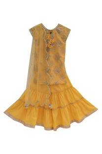 Yellow gota embroidered kurta set