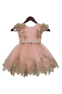 Peach & gold lace & net gown