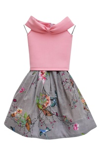Baby pink lycra & cotton net top with grey printed skirt