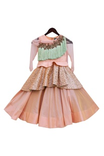 Peach dupion silk crop top with draped skirt